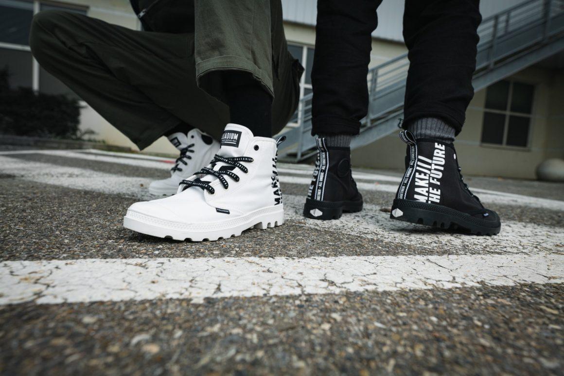 Palladium với dòng giày Pampa Hi futire màu đen và trắng cùng dòng chữ Make The Future phong cách thời trang siêu ngầu