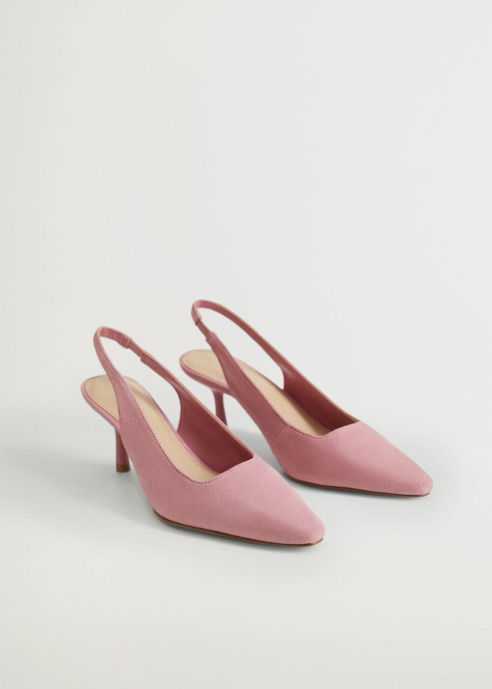 Giày nữ cao gót mũi nhọn màu hồng mango