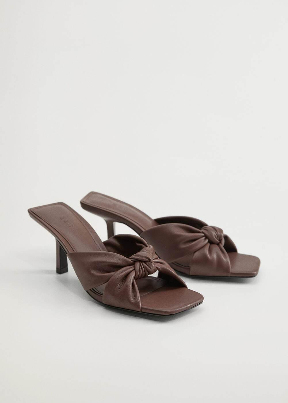 giày nữ mule mũi vuông thắt nơ màu nâu mango