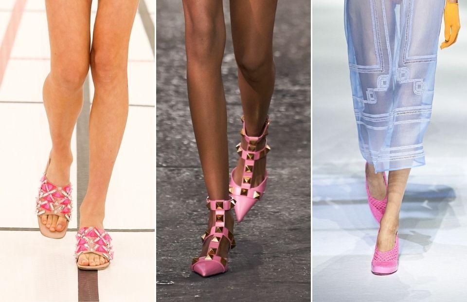 thiết kế giày nữ màu hồng tại tuần lễ thời trang xuân hè 2021