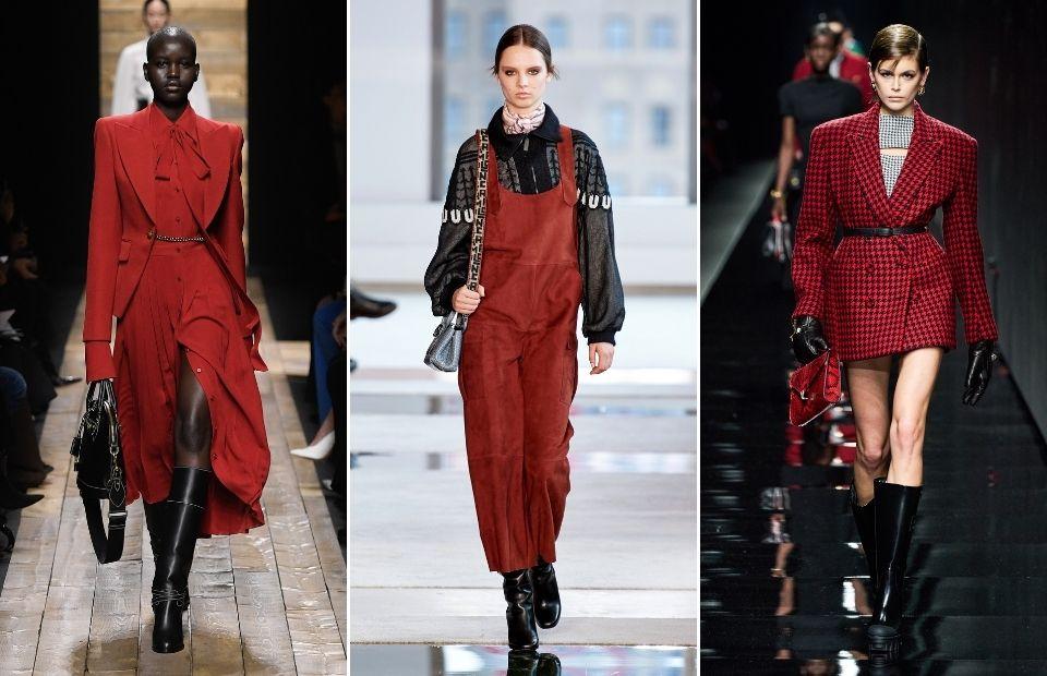 cách phối màu đỏ samba và đen mùa thu đông 2020