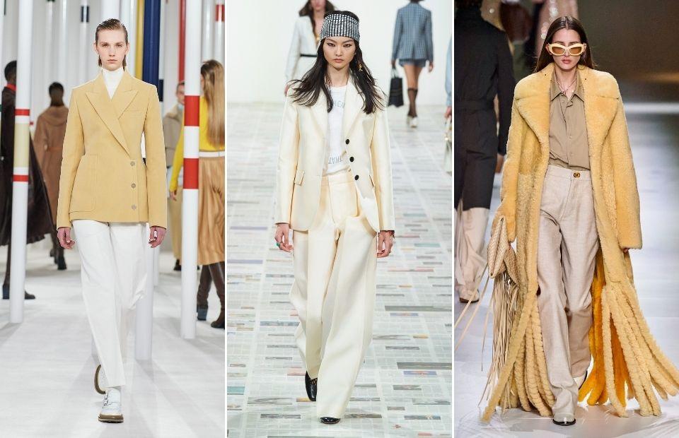 cách phối màu vàng lemon và trắng mùa thu đông 2020