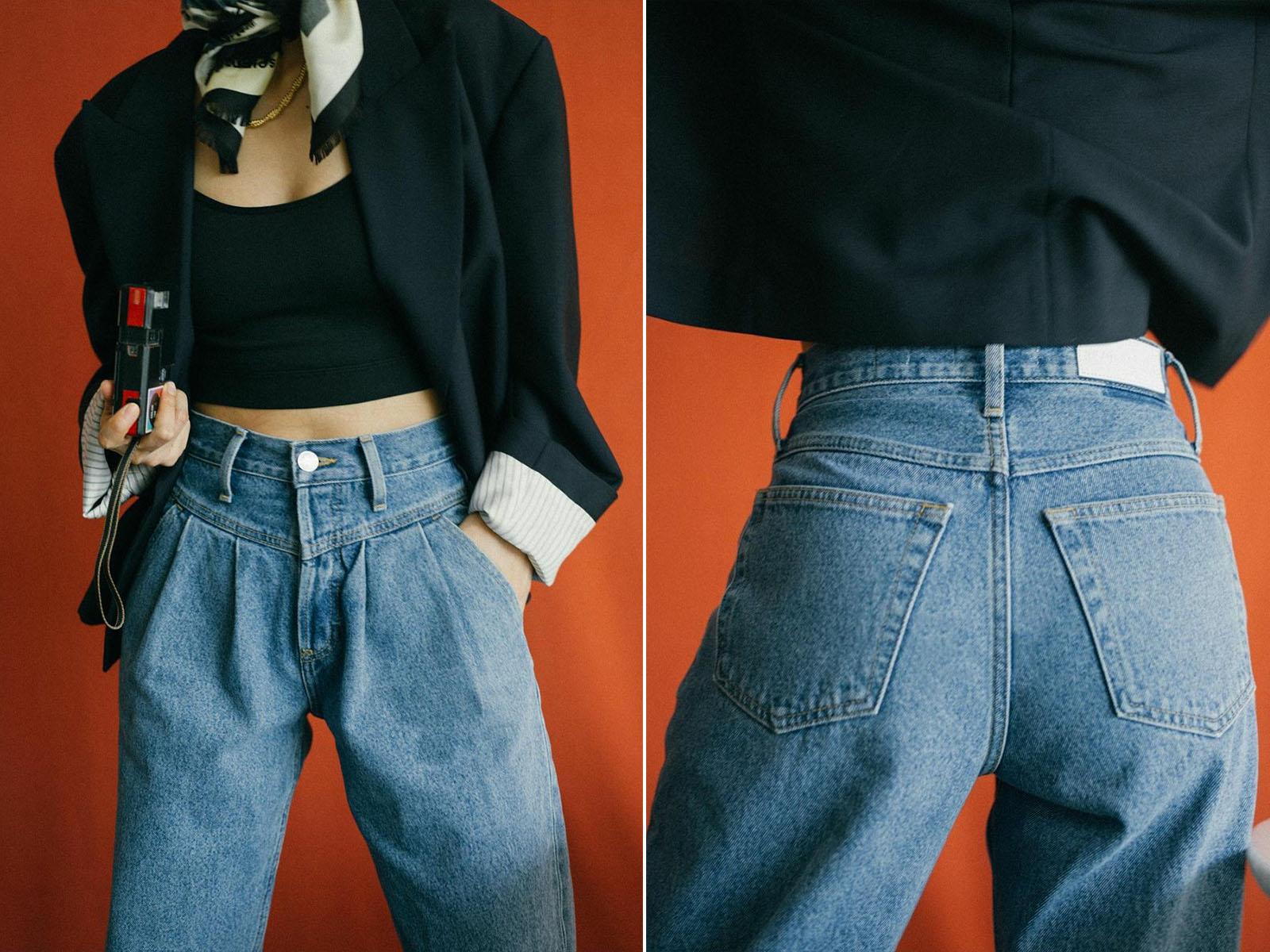 bí quyết chọn quần jeans bằng túi sau cô gái mặc croptop và blazer