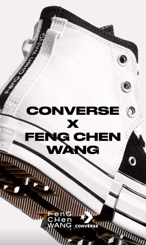 bst converse feng chen wang 2-in-1 phối 2 màu trắng đen in logo