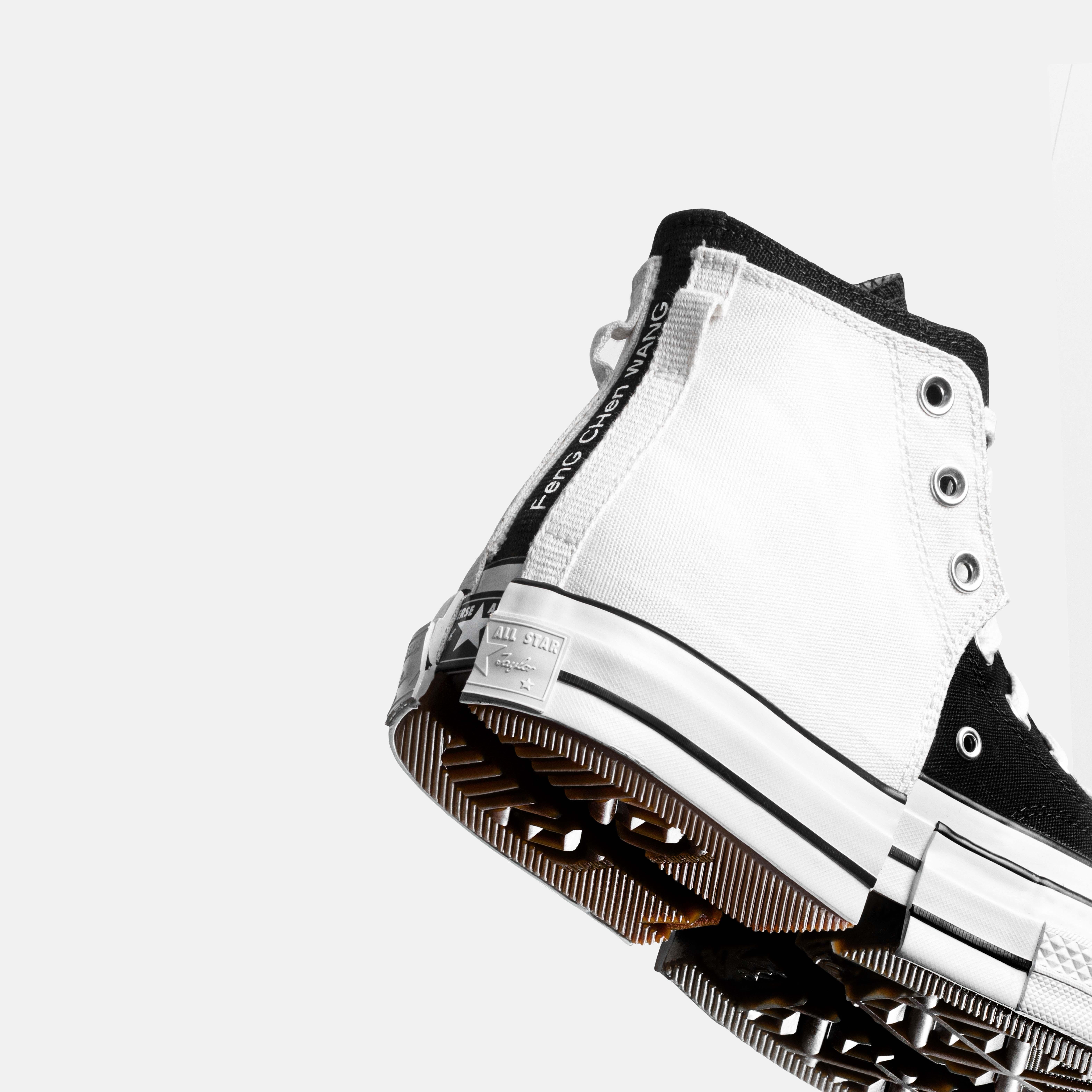 bst converse feng chen wang 2-in-1 phối 2 màu trắng đen gót giày