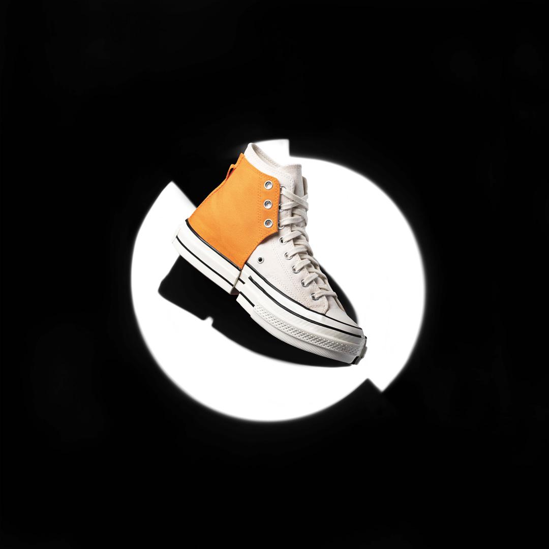 bst converse feng chen wang 2-in-1 phối 2 màu trắng cam nền đen
