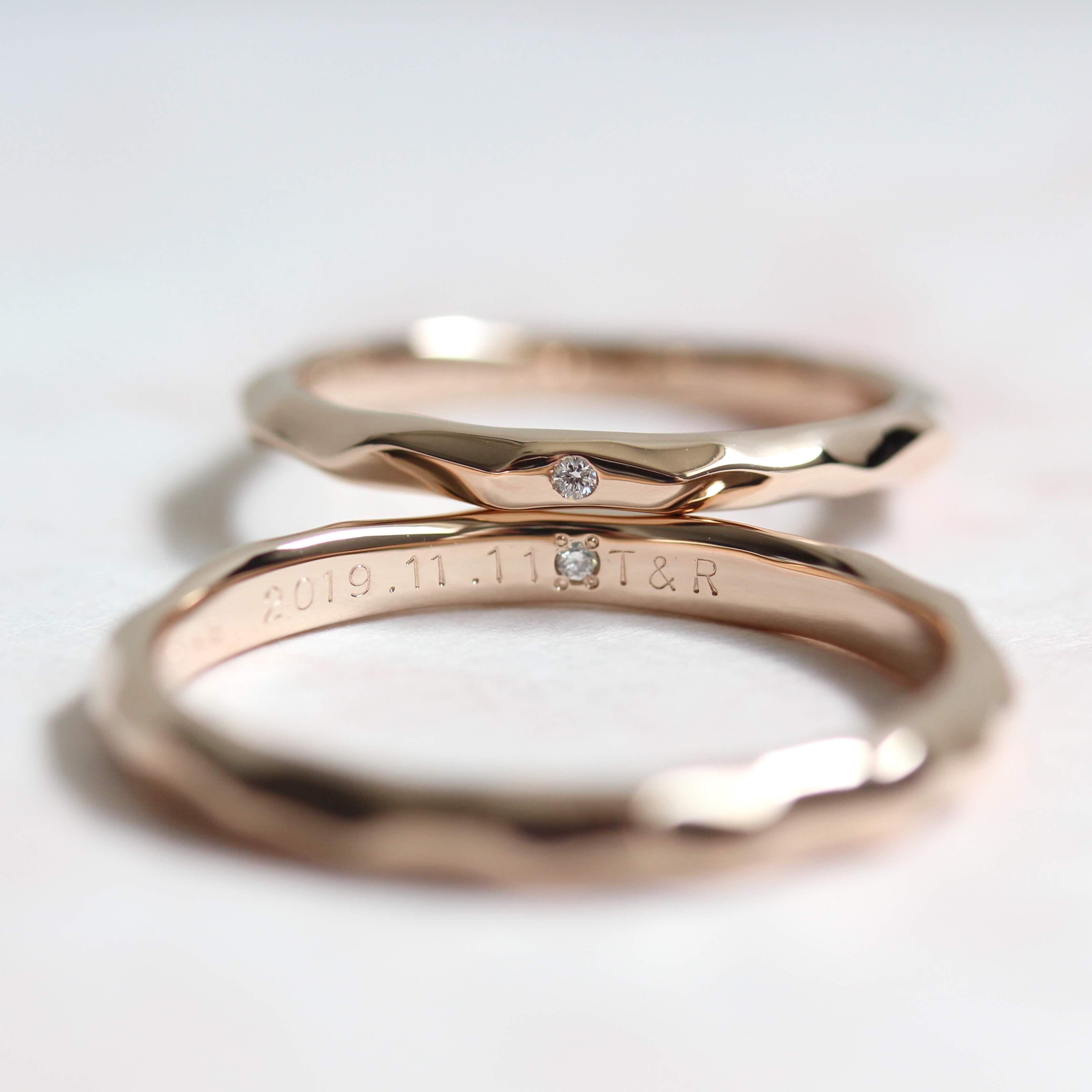 nhẫn đôi đính đá khắc chữ