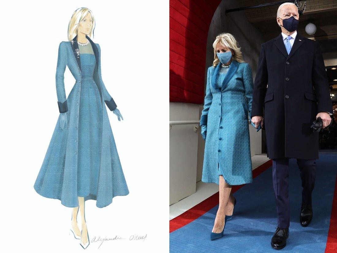 Bản phác thảo trang phục màu xanh cho bà Jill Biden