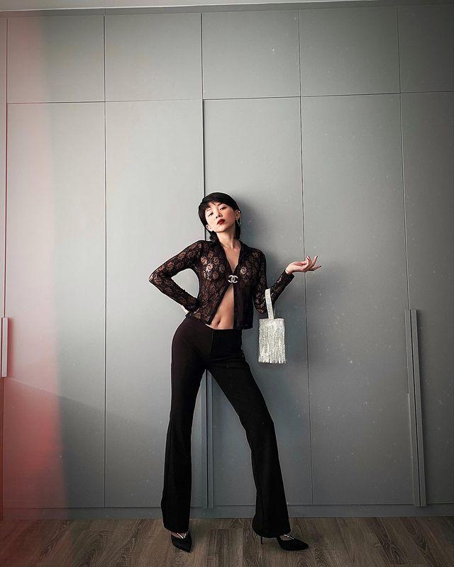 quần dài ống loe kết hợp áo ren