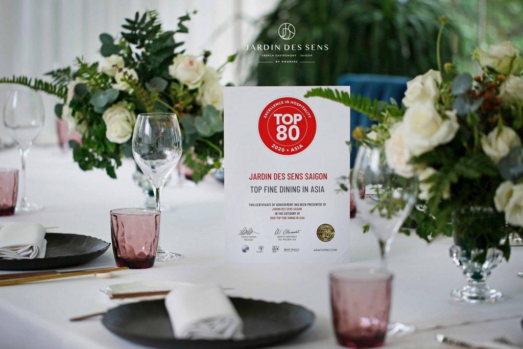 chứng nhận nhà hàng  Jardin Des Sens Saigon