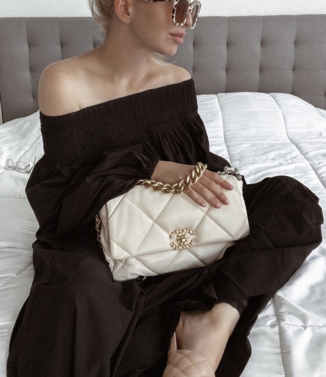 chanel 19 flap bag in white color sabina lynn