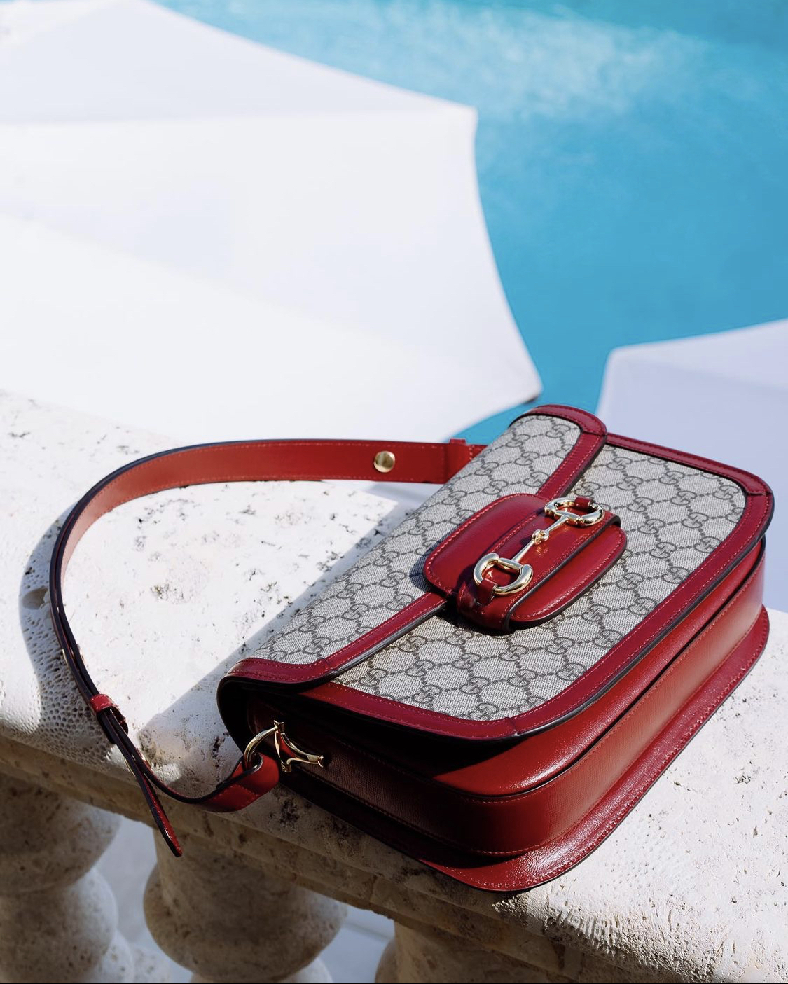 gucci 1955 horsebit canvas with red details purseblog