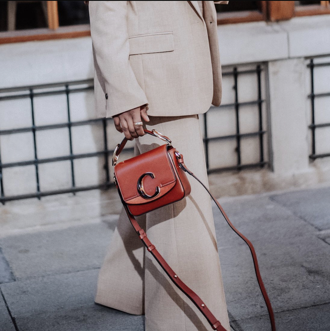 mini c chloe crossbody bag in brick red color natasha.fs