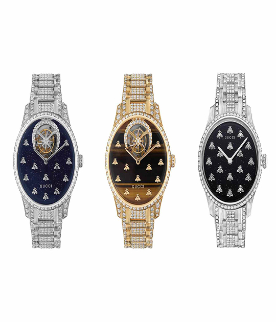 gucci g-timeless dancing bees in gold and white gold