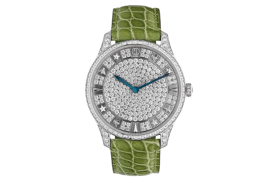 gucci g-timeless pave with green alligator strap