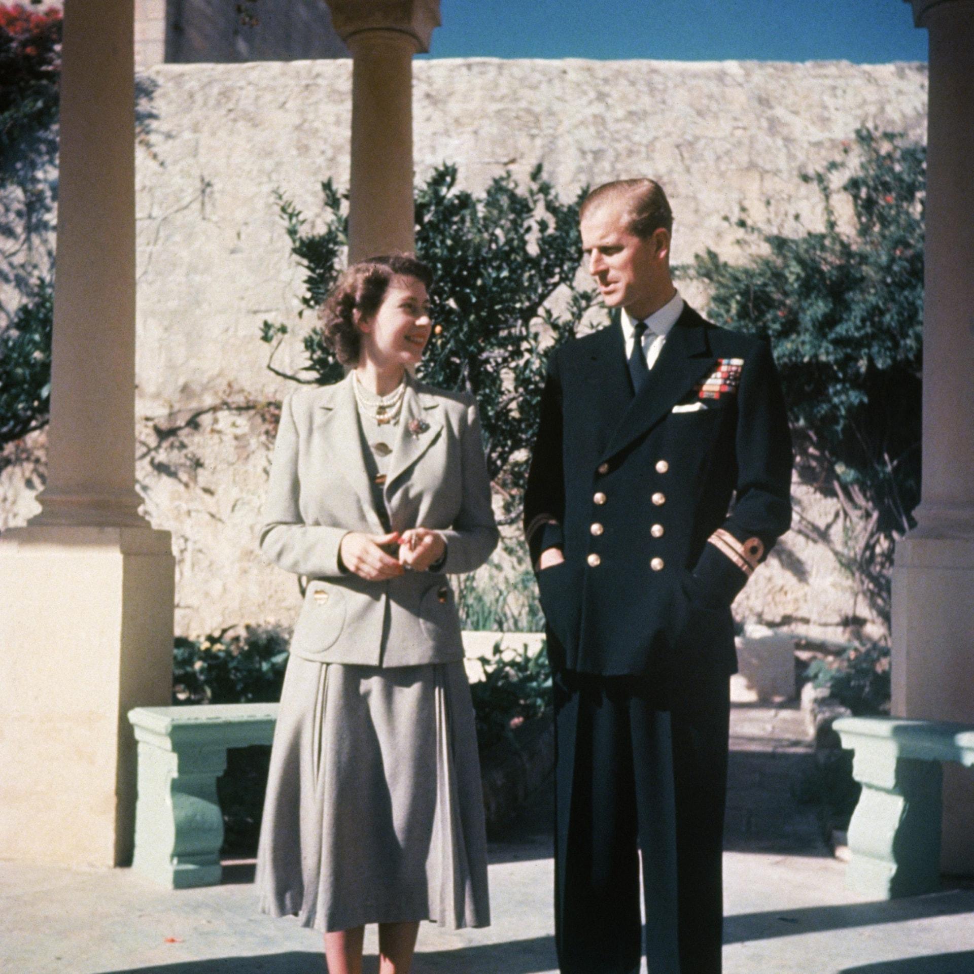 Prince Philip in Royal Navy Uniform on honeymoon in malta 1947