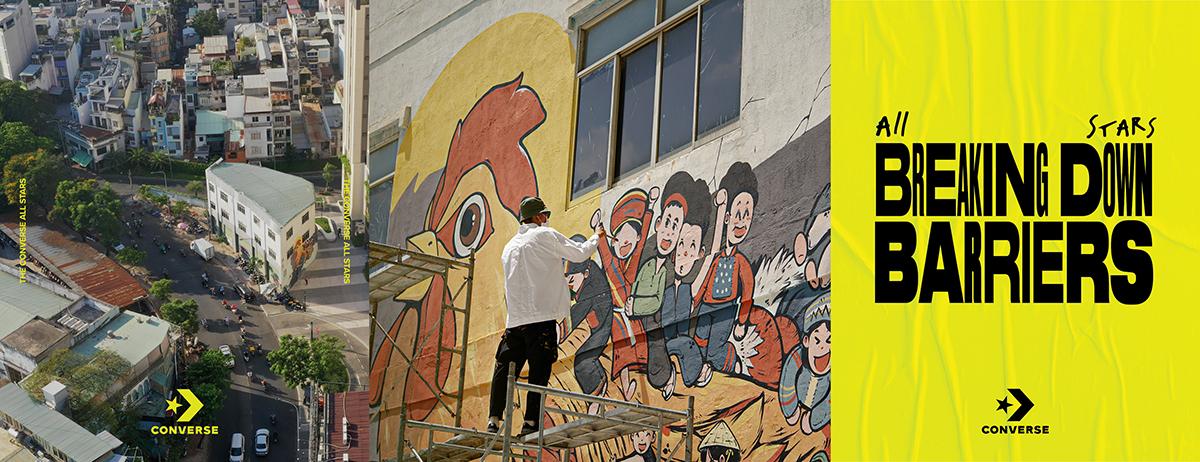 bức tường graffiti converse