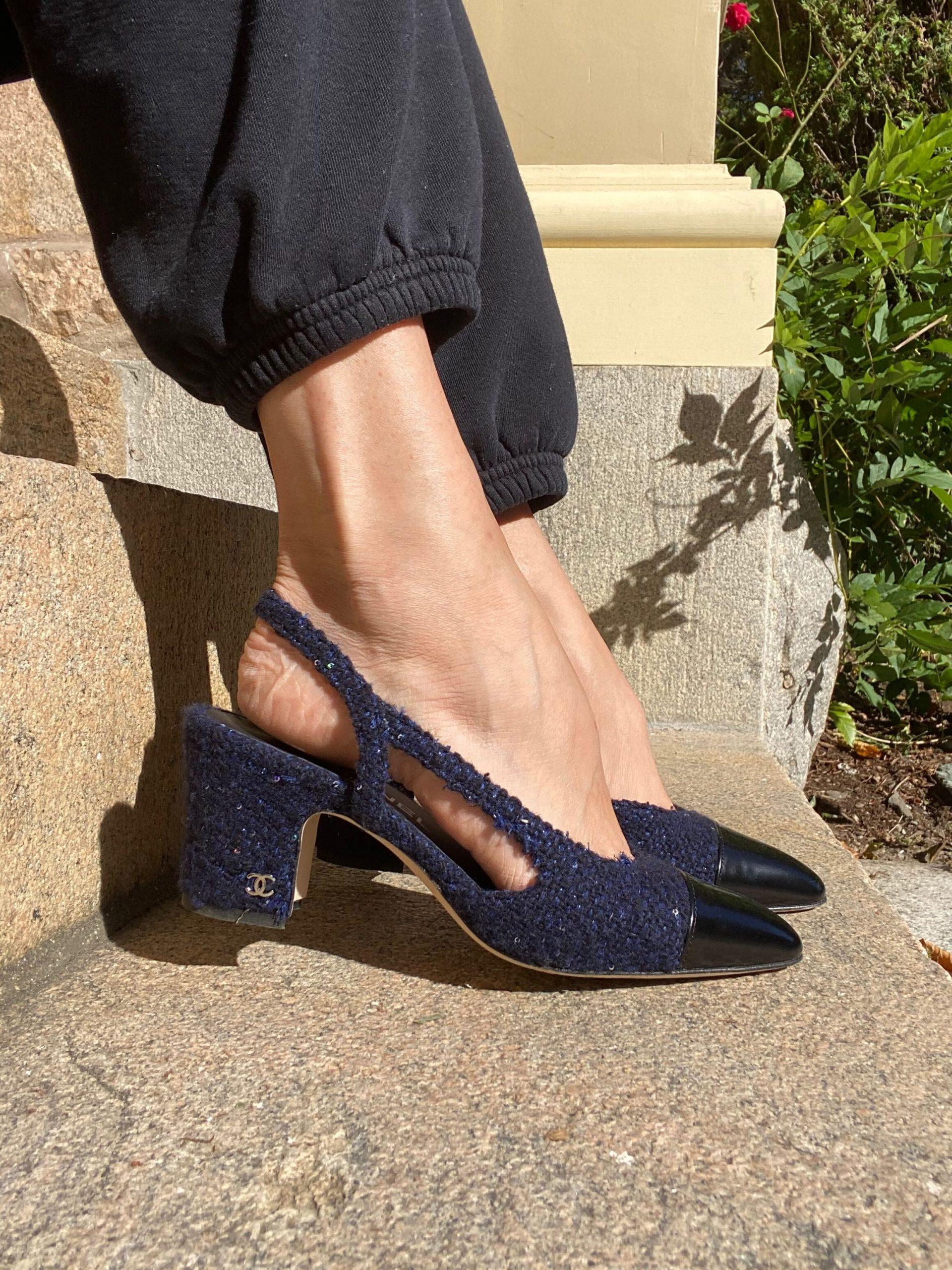 Giày slingback chanel vải tuýt màu xanh navy