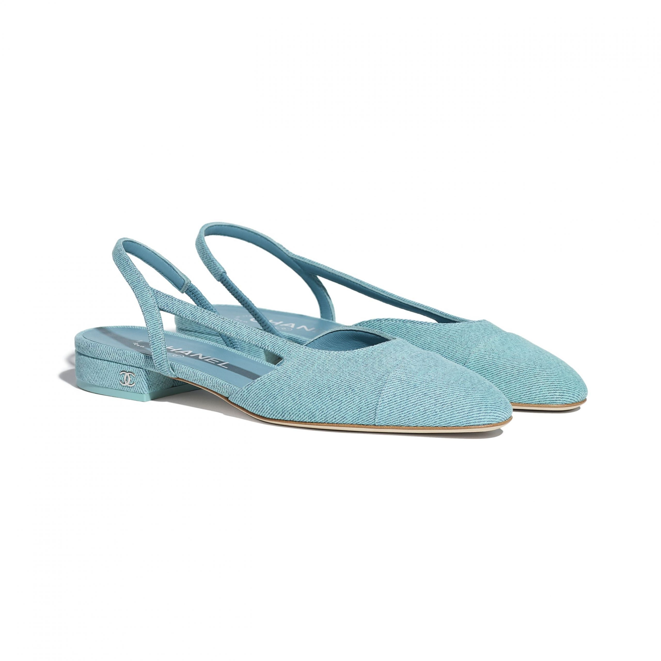 Giày slingback chanel đế bệt vải jean màu baby blue