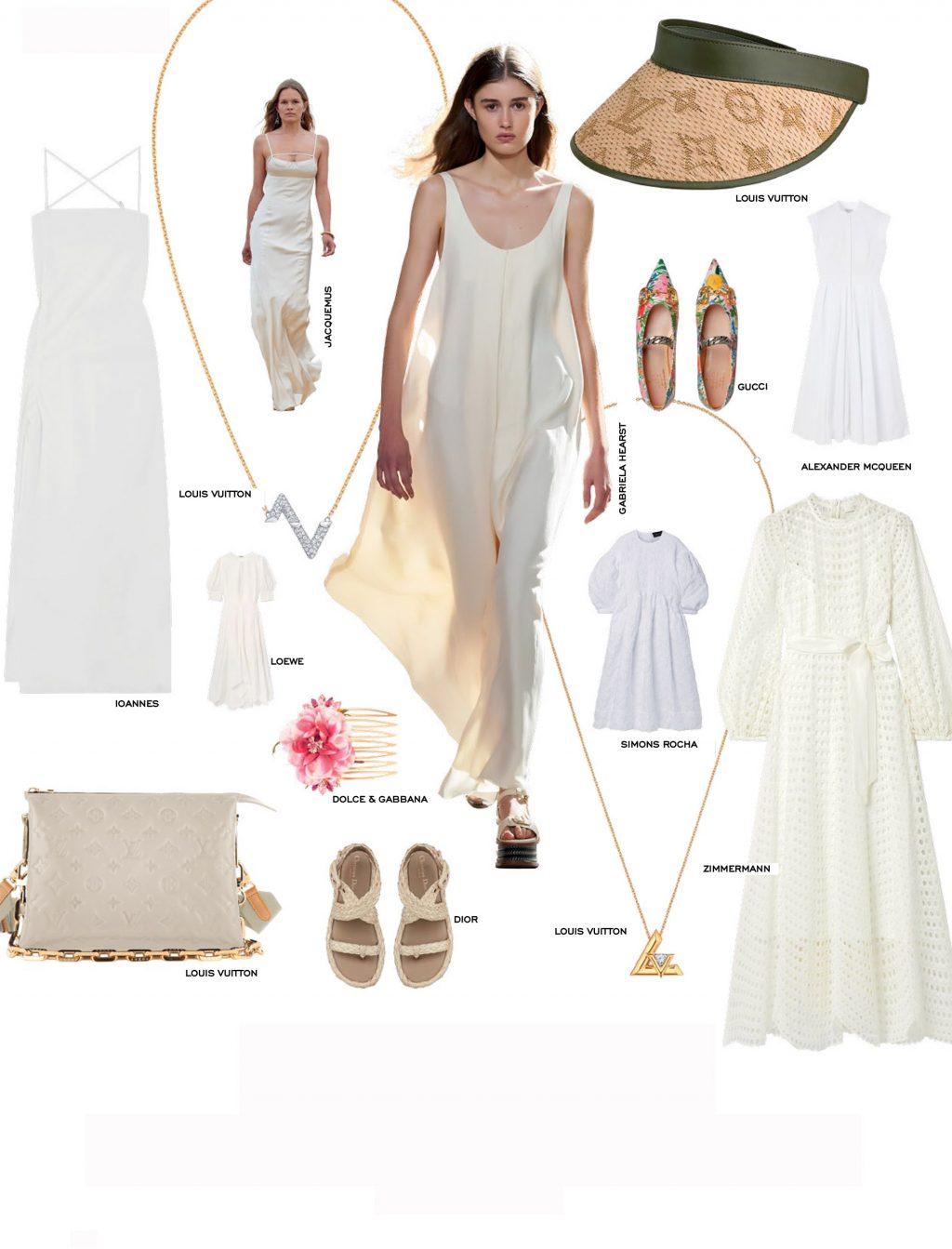 sandals kết hợp cùng đầm trắng