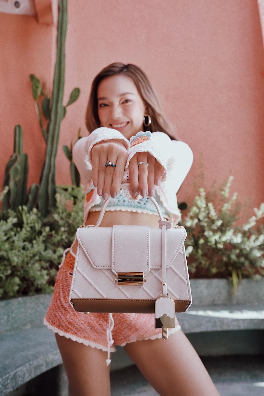 Châu Bùi túi đeo chéo Juno hồng Pastel