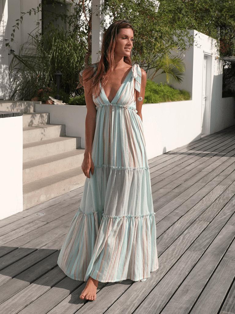 váy maxi buộc dây màu pastel