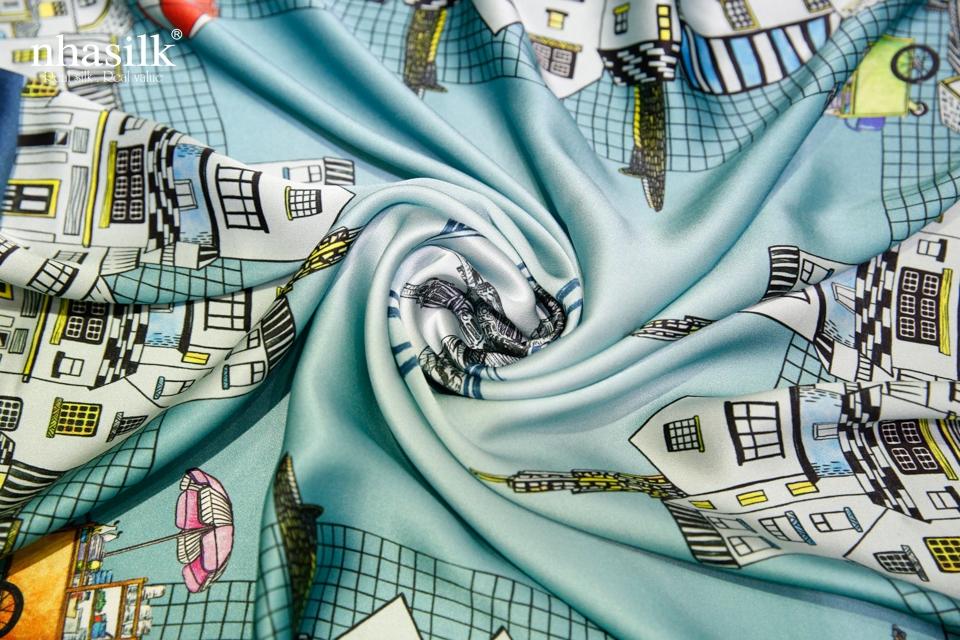 khăn lụa nhã silk họa tiết màu xanh