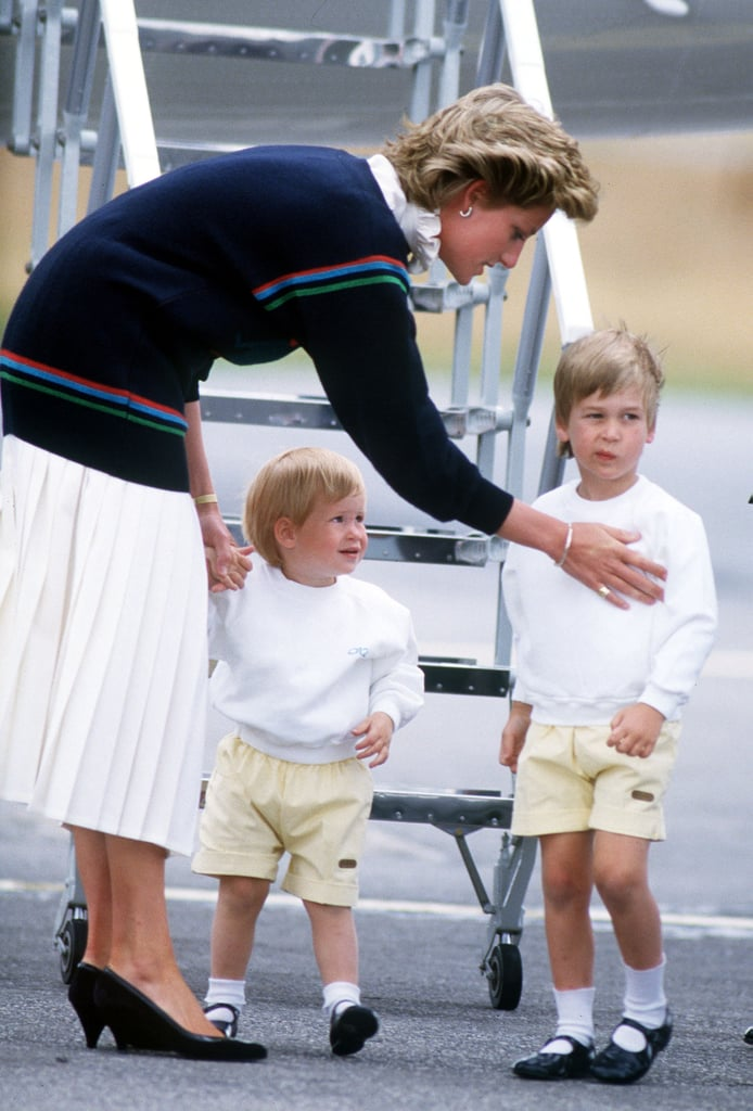 Princess Diana with the princes at the Scottish airport, 1986