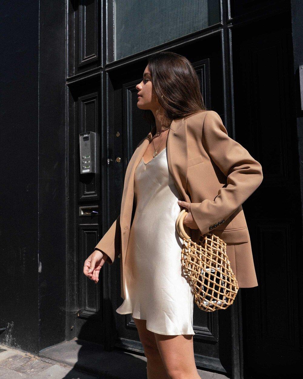 Sarah christine áo blazer màu beige