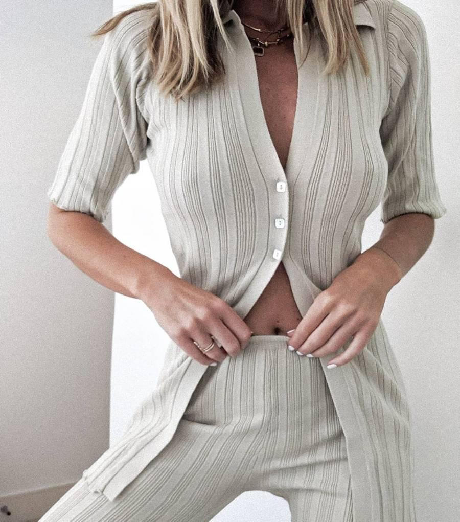 Set đồ dệt kim màu xám Hannah Lewis