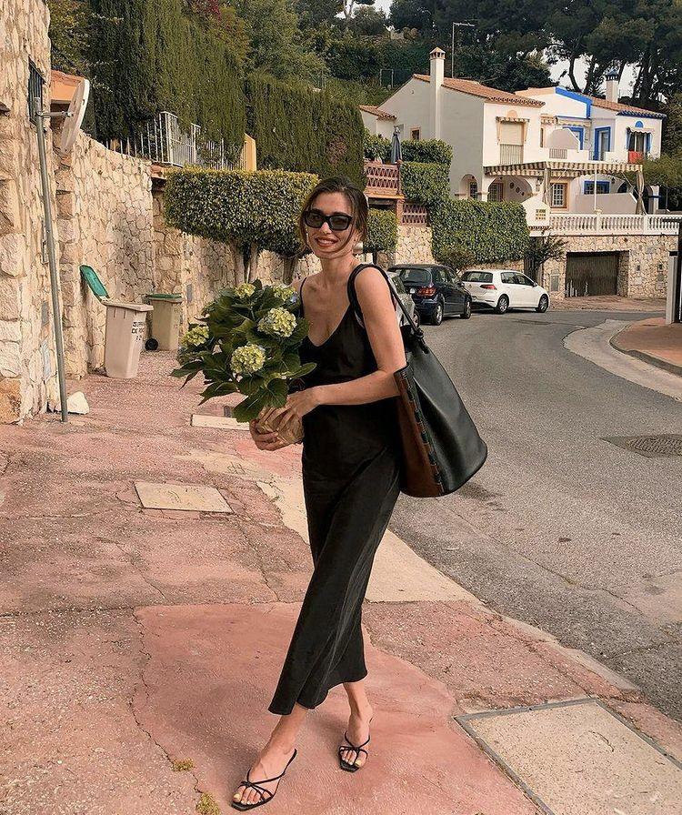 slip dress đen túi đeo vai da đen