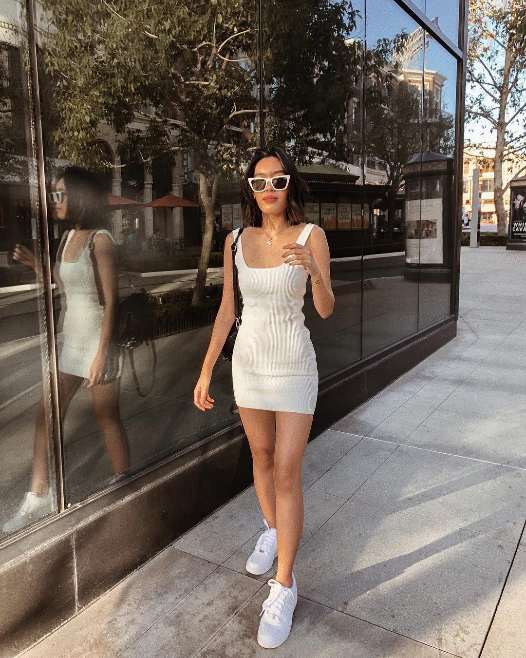 váy trắng hai dây bodycon