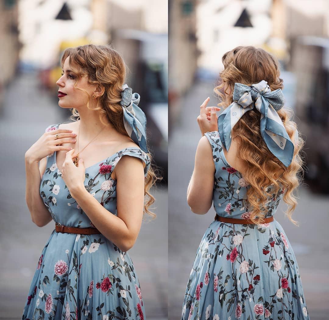 khăn turban phối đầm cùng chất liệu cho bức ảnh vintage