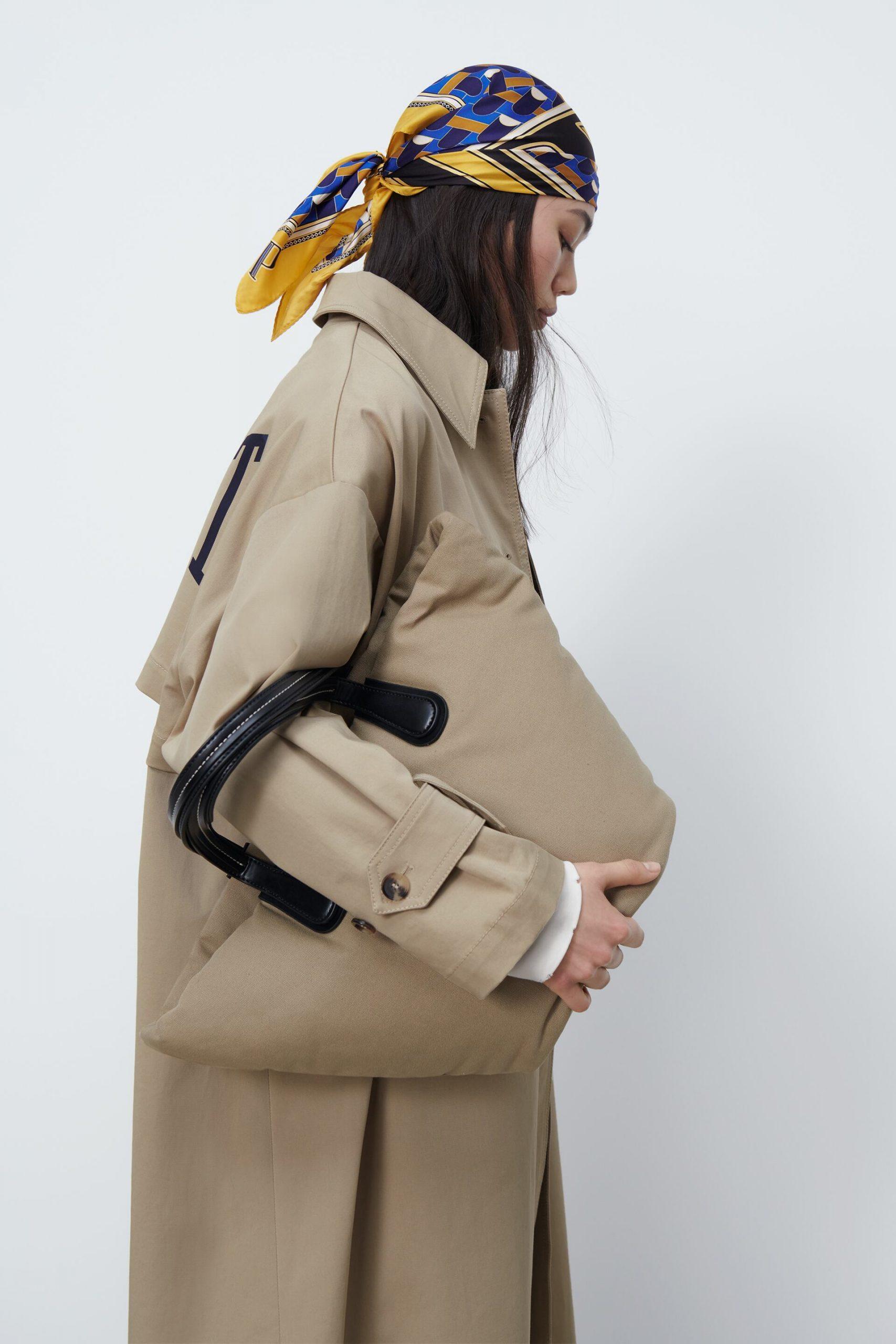 Túi xách chống thấm màu nâu Zara