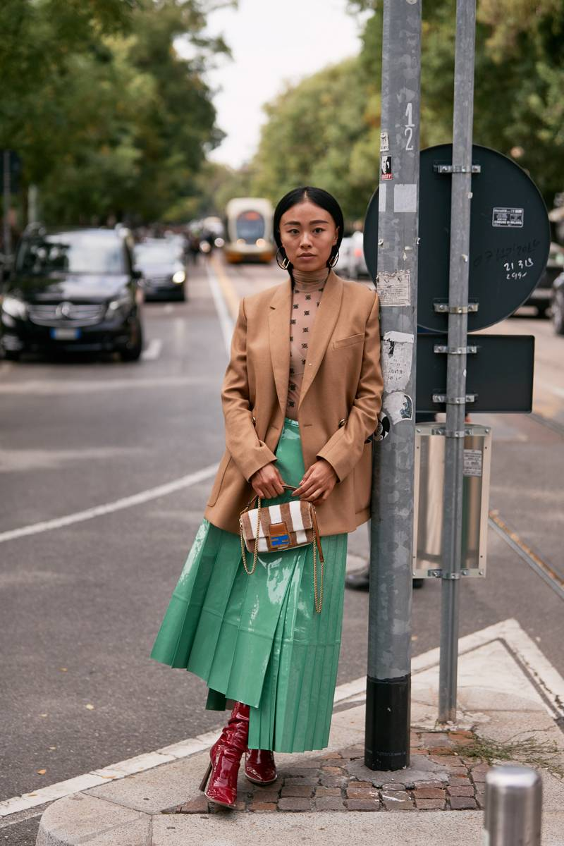 Green leather pleated skirt
