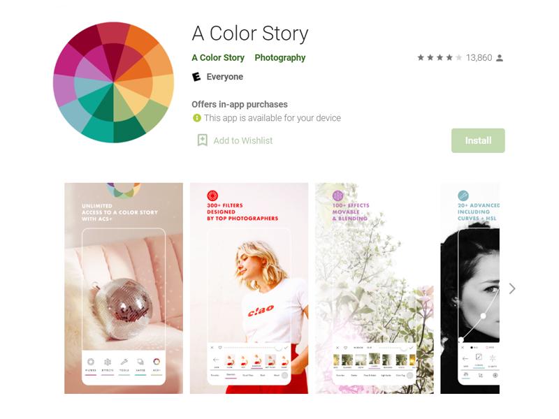 ứng dụng chỉnh ảnh nên có a color story