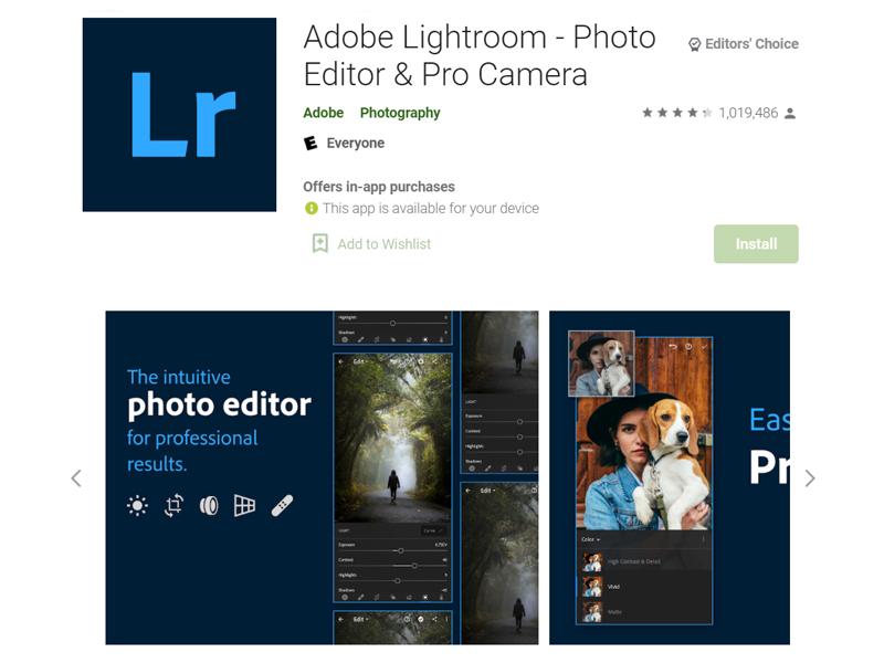 ứng dụng chỉnh ảnh nên có lightroom