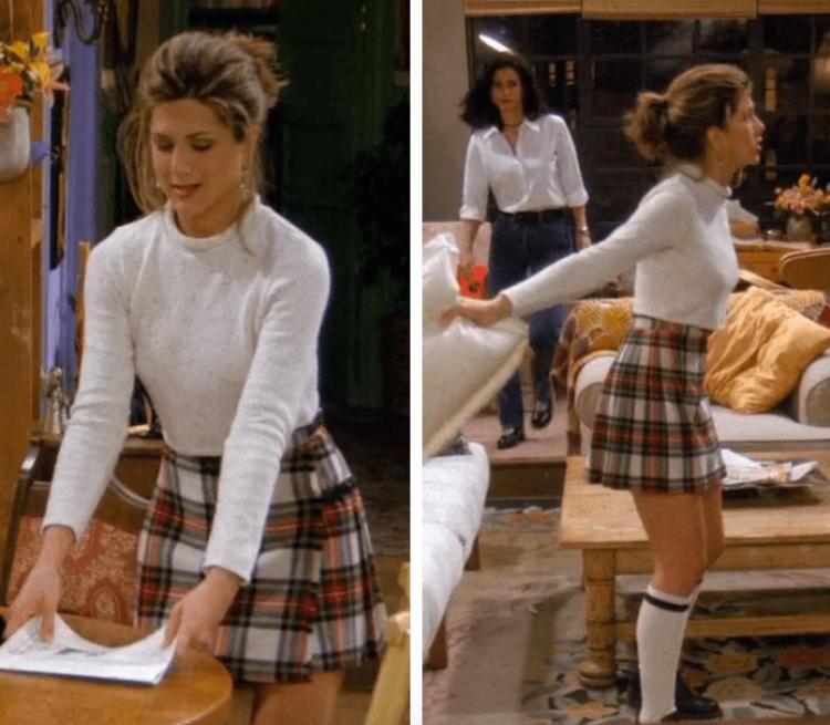Rachel Green chân váy mini mặc ở nhà