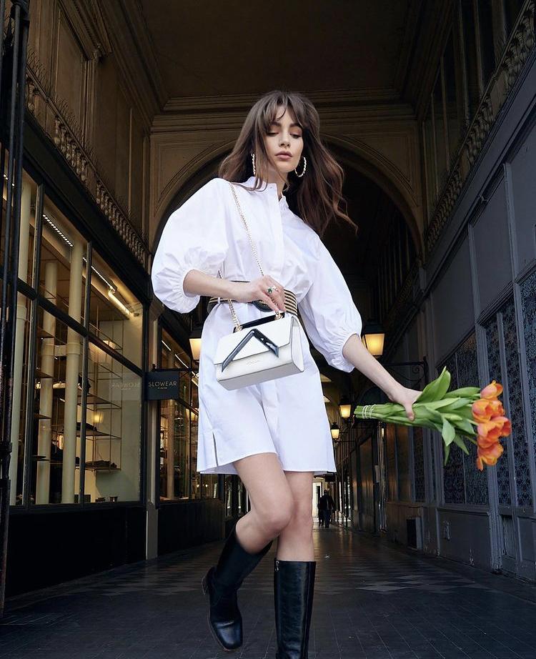 Đầm sơ mi trắng