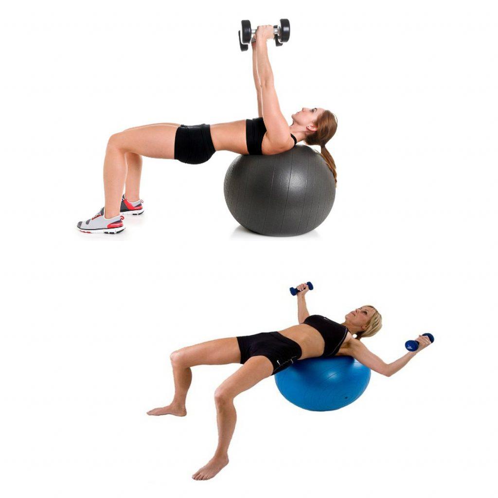 Bài tập ngực Stability ball dumbbell fly