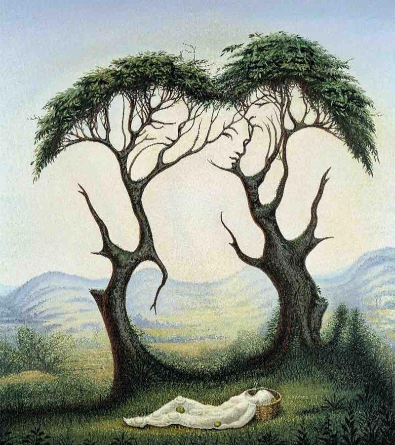 trắc nghiệm hình ảnh cô gái và cái cây