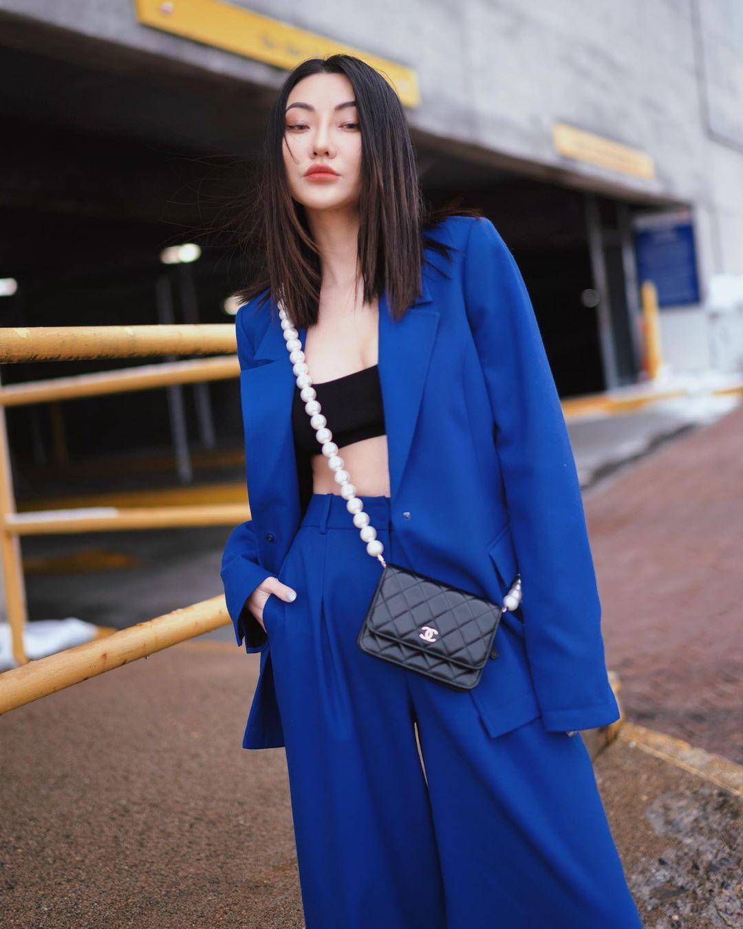 jessica wang blazer xanh