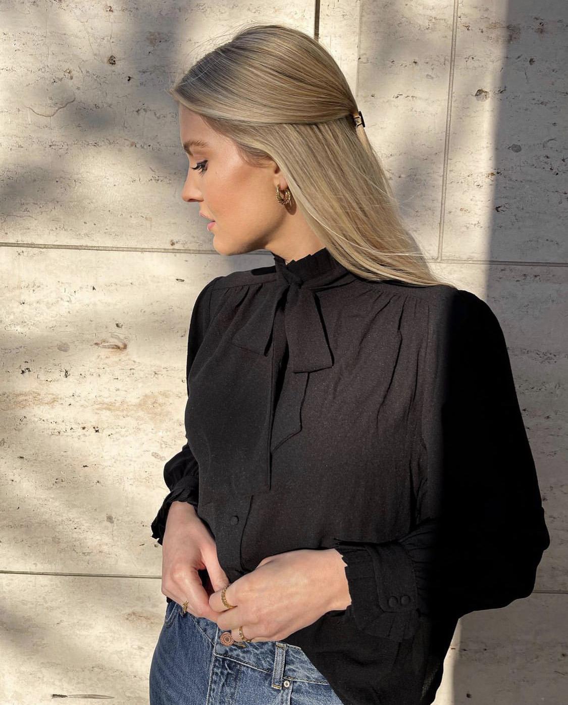 Áo blouse Zoom đen