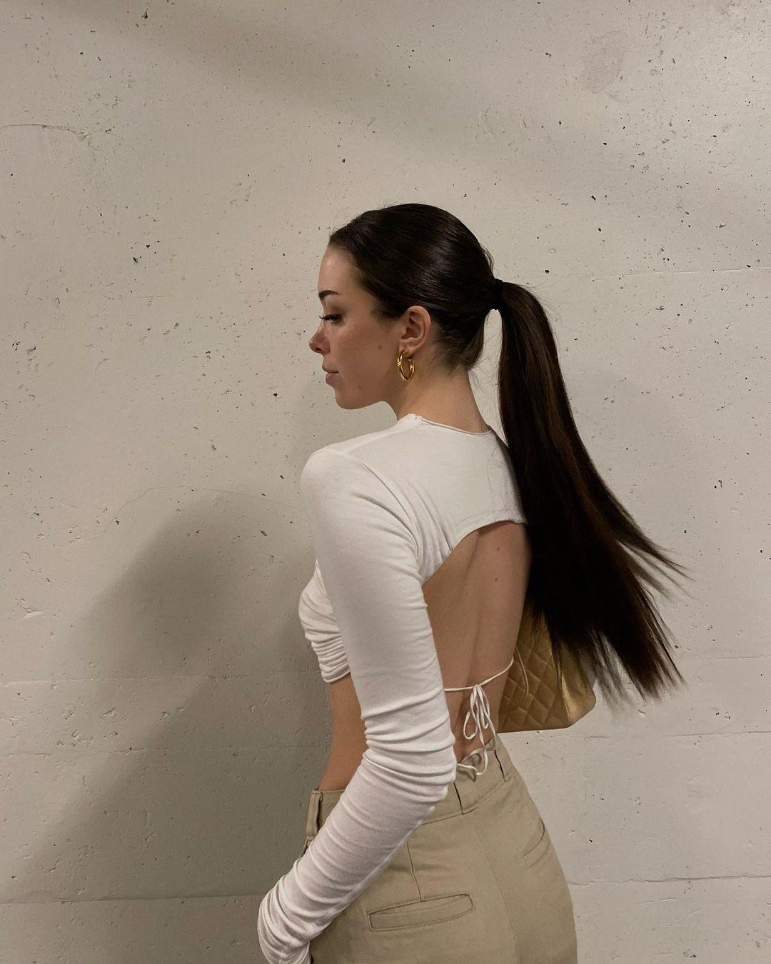 áo hở lưng croptop trắng