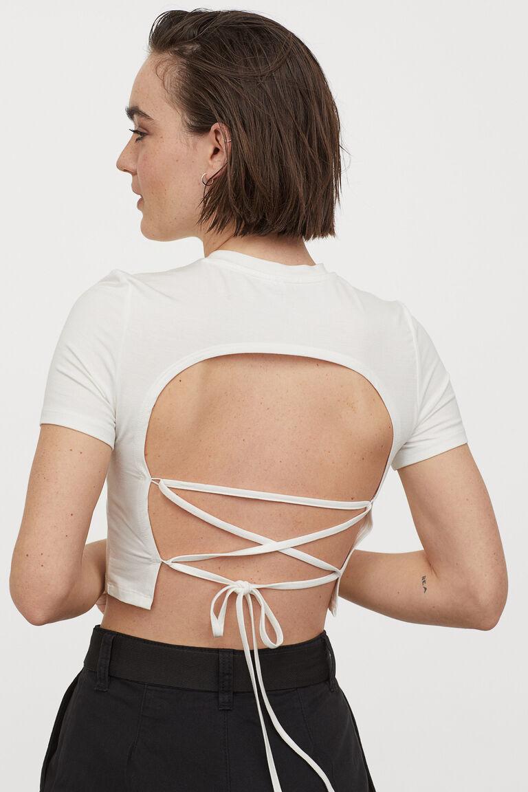 croptop H&M trắng buộc dây