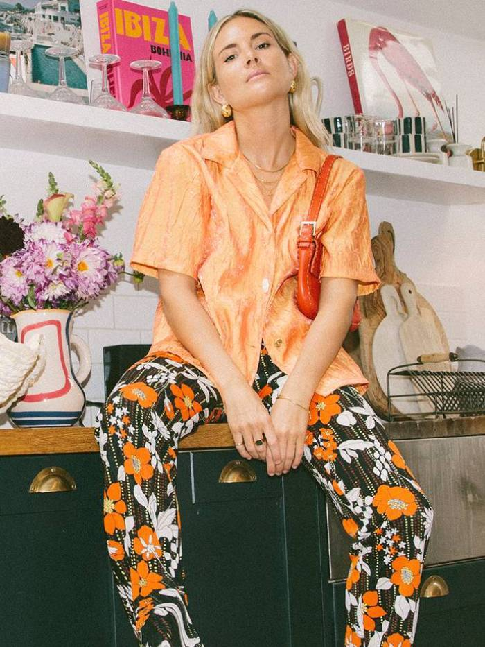 Floral pants with eye-catching colors