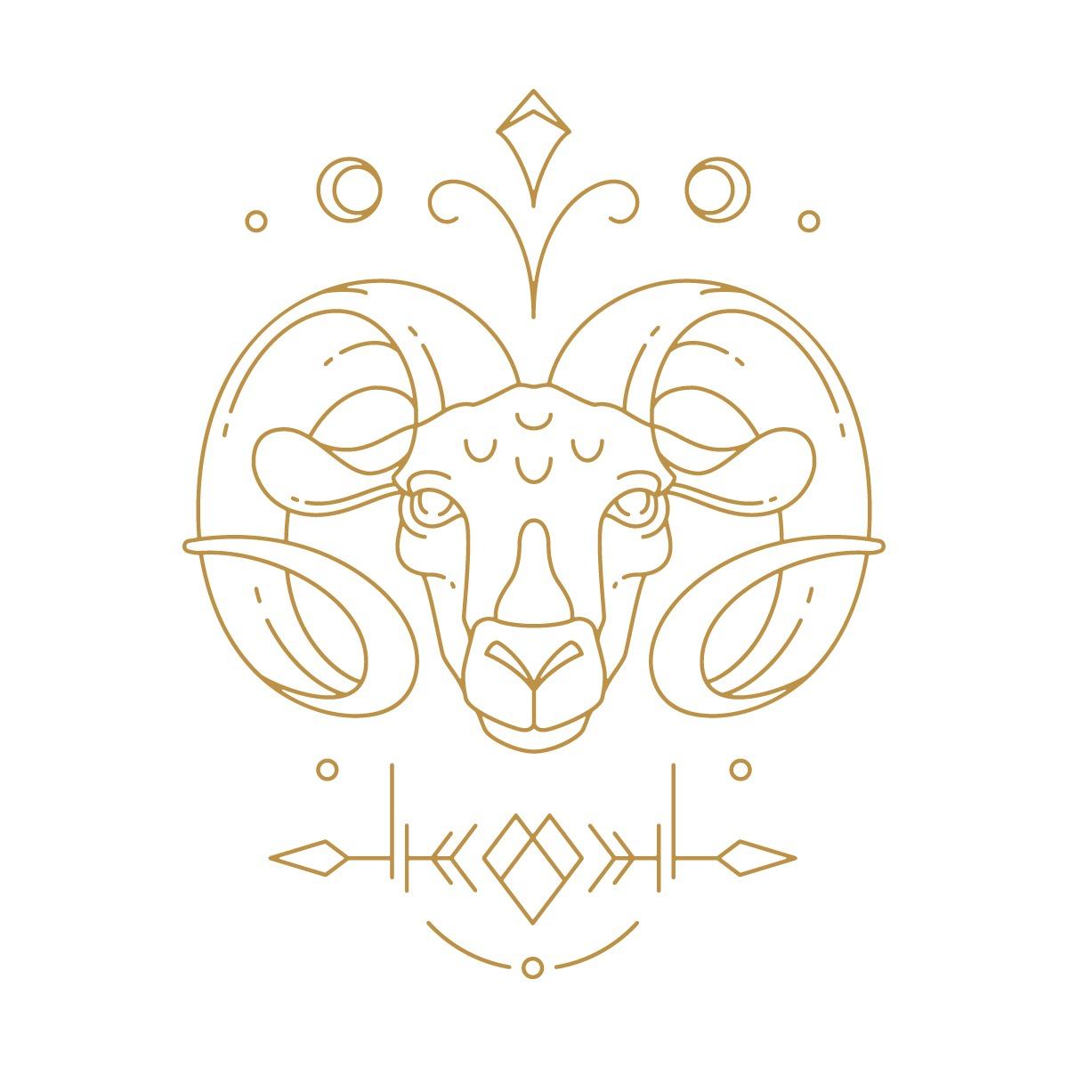 Hình vẽ biểu tượng cung hoàng đạo Bạch Dương