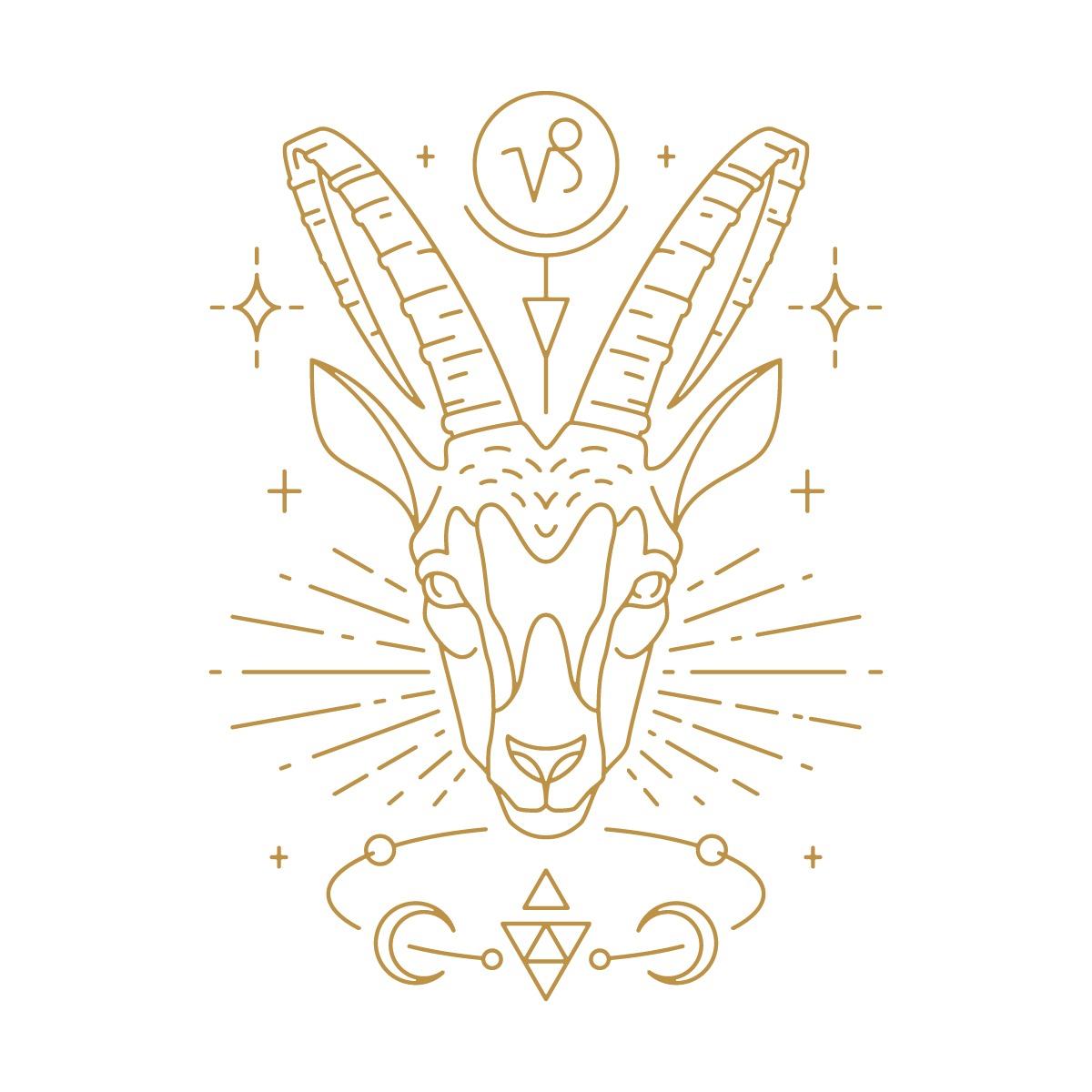 Hình vẽ đầu dê, biểu tượng cung hoàng đạo Ma Kết
