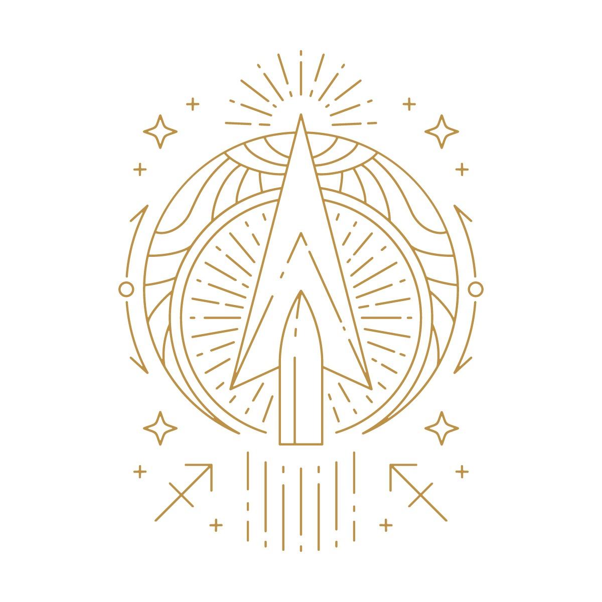 Hình vẽ mũi tên, biểu tượng cung Nhân Mã