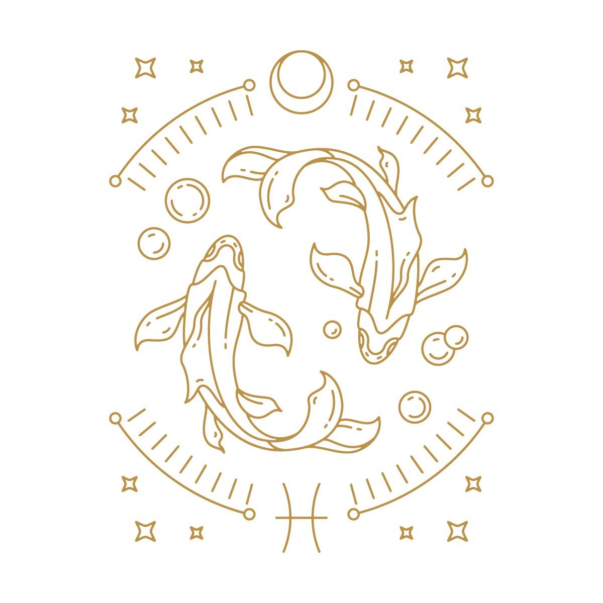 Hình ảnh 2 chú cá đối nhau, biểu tượng cung Song Ngư